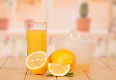 Cut lemon, juice extractor and glass Stock Image