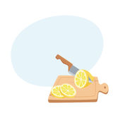 Cut lemon with a knife. On a cutting board. Cooking process vector illustration. Kitchenware and cooking utensils isolated on white. Tasty food recipe Royalty Free Stock Photo