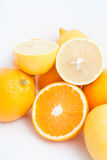 Cut lemon and orange group Stock Image