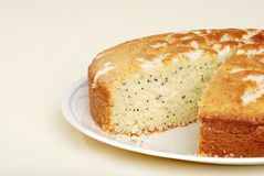 Cut lemon poppy seed cake Royalty Free Stock Image