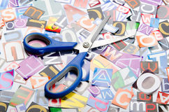 Cut letters from newspapers Stock Images