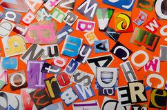 Cut letters from newspapers Stock Photos