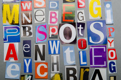Cut letters from newspapers Royalty Free Stock Photography
