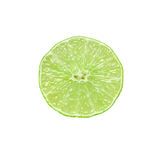 Cut lime. Section of ripe lime. Isolated over white Stock Photography