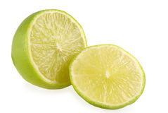 Cut lime. The cut lime on white background Royalty Free Stock Image