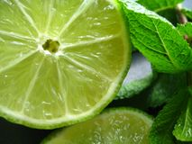 Cut lime macro. Cut lime and mint branch shot close-up Stock Photos