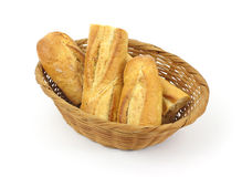 Cut Loaf Baguette Bread in Basket Royalty Free Stock Image