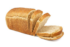 The cut loaf of bread. On white Stock Photos