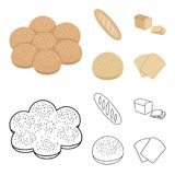 Cut loaf, bread roll with powder, half of bread, baking.Bread set collection icons in cartoon,outline style vector. Symbol stock illustration Royalty Free Stock Images