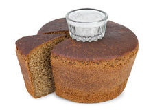 Cut loaf of round rye bread Stock Photography