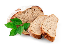 Cut loaf of rye bread Stock Images