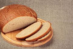 Cut loaf of rye bread Royalty Free Stock Image