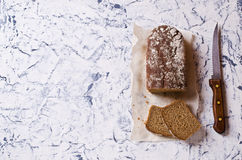 Cut loaf of rye bread Stock Photo