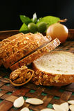 Cut loaf of white bread Royalty Free Stock Images