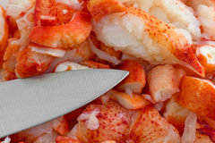 Cut lobster meat with knife Stock Image