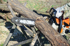 Cut the logs with chainsaw. Worker sawing wood with a chainsaw royalty free stock images
