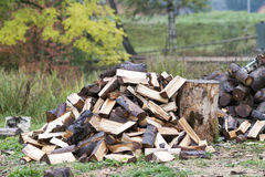 Cut logs fire wood. Renewable resource of energy. Environmental Royalty Free Stock Images