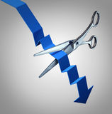 Cut Losses. Financial concept to salvage an investment as scissors cutting a downward finance chart arrow as a business symbol for money management strategy Royalty Free Stock Image