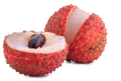 Cut lychee isolated on white Stock Images