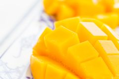 Cut mango closeup Stock Images