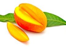 Cut mango with leaf 1 Stock Image