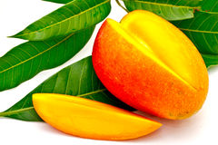 Cut mango with leaf 2 Royalty Free Stock Photo
