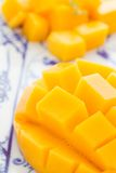 Cut mango. Sectioned mango closeup on a white and blue plate Royalty Free Stock Photo