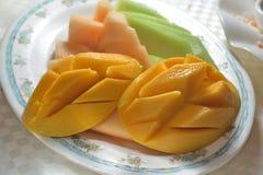 Mango honey melon platter royalty free stock photography