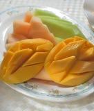 Mango honey melon platter royalty free stock photo