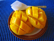 Cut mangoes. Cut yellow mangoes for breakfast Stock Photos