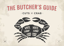Cut of meat set. Poster Butcher diagram and scheme - Crab. Vintage typographic hand-drawn visual guide for butcher shop. Vector illustration Royalty Free Stock Photo