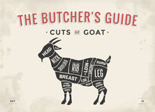 Cut of meat set. Poster Butcher diagram, scheme - Goat. Vintage typographic hand-drawn goat silhouette for butcher shop, restaurant menu, graphic design. Meat Stock Photos