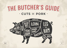 Cut of meat set. Poster Butcher diagram, scheme and guide - Pork. Vintage typographic hand-drawn. Vector illustration.