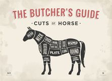 Cut of meat set. Poster Butcher diagram, scheme - Horse. Vintage typographic hand-drawn horse silhouette for butcher shop, restaurant menu, graphic design Stock Photography