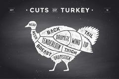 Cut of meat set. Poster Butcher diagram, scheme - Turkey Stock Images