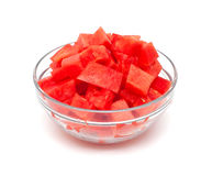 Cut Melon In A Glass Bowl Stock Photos
