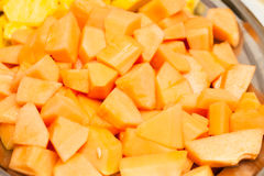 Cut melon of the sweet table on wedding or event party. Detail of the sweet table on wedding or event party Royalty Free Stock Photography