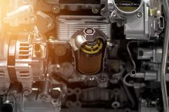 Cut metal car engine part details Royalty Free Stock Photography