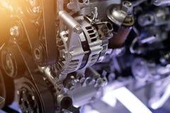 Cut metal car engine part details Royalty Free Stock Photos