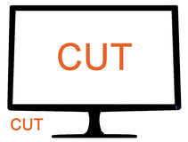 Cut monitor. PC monitor with screen and byckground to cut Stock Image