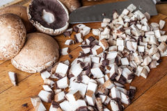 Cut mushrooms from side Royalty Free Stock Photography