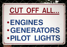 Cut Off All... A warning sign Royalty Free Stock Photography
