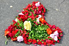 Heart made of cut flowers Stock Photo