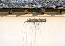 Cut off old telephone lines royalty free stock image