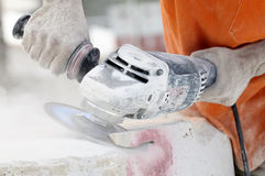 Cut-off saw work Royalty Free Stock Images