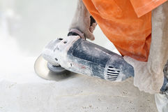 Cut-off saw work Royalty Free Stock Photo