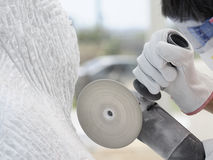 Cut-off saw work Royalty Free Stock Image