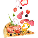 Cut off slice pizza. With flying ingredients isolated on white background stock photos
