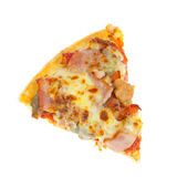 Cut off slice pizza isolated on white background Stock Photo