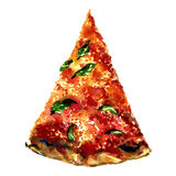 Cut off slice pizza isolated on white background Royalty Free Stock Photo